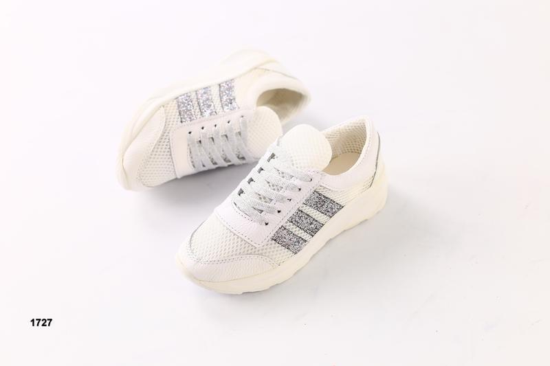 Белые кроссовки с блестками натуральная кожа