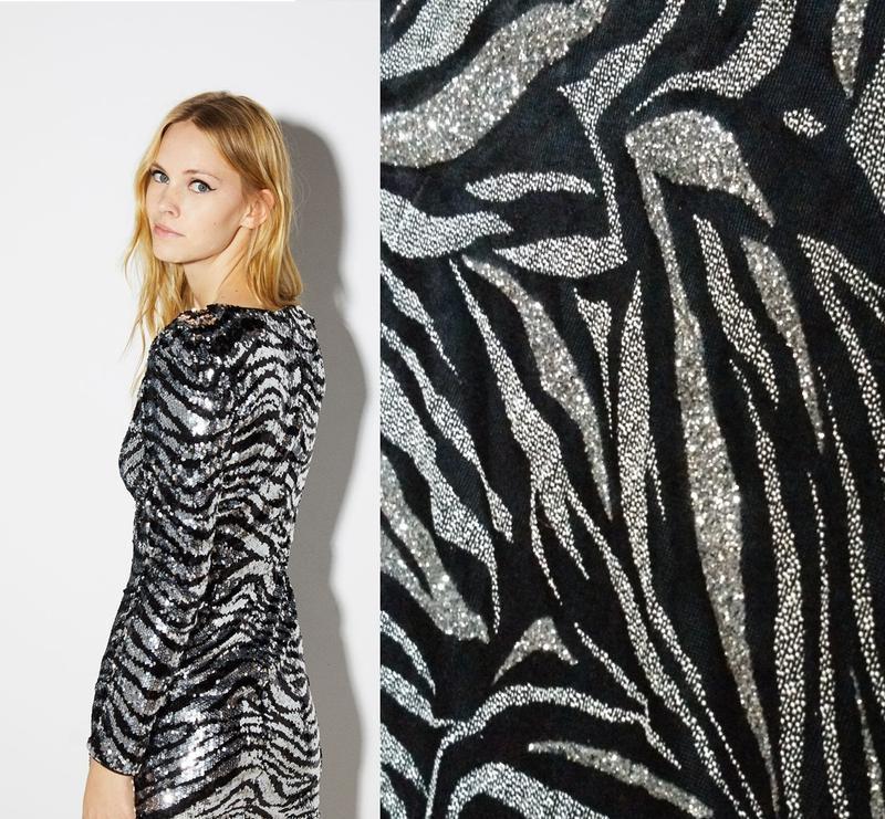 Тренд серебристое платье гольф блестящее зебра тигр с животным...