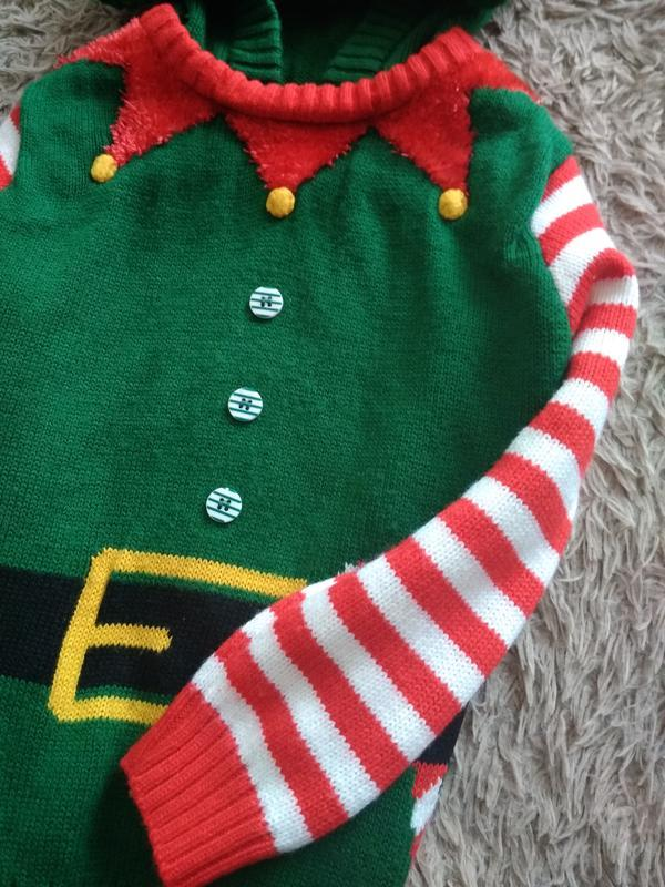 Яркая, красивая,новогодняя кофточка с капюшоном от george,на 4... - Фото 6