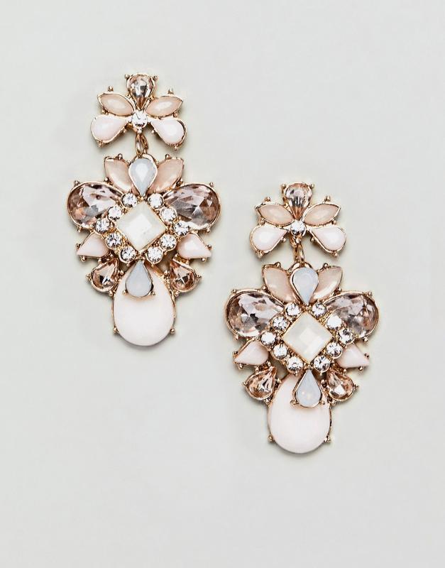 Розовые серьги с камнями true decadence asos сережки бижутерия