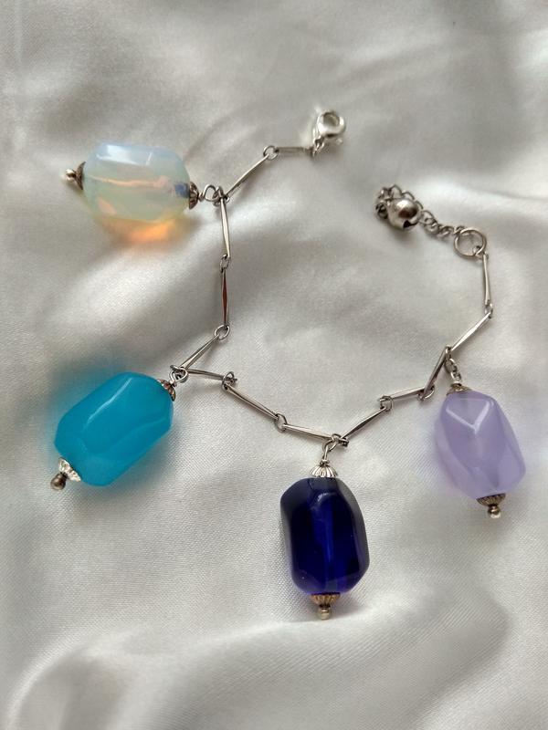 Оригинальный винтажный браслет с натуральными камнями Чехия