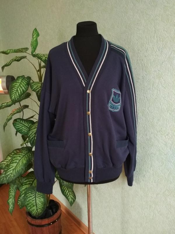 Куртка регби (пуловер) мужская теплая темно-синяя. adidas.