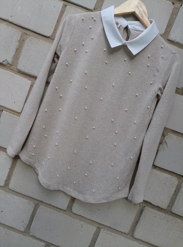 Нежный свитерок с перлинами спереди раз. xl - Фото 2