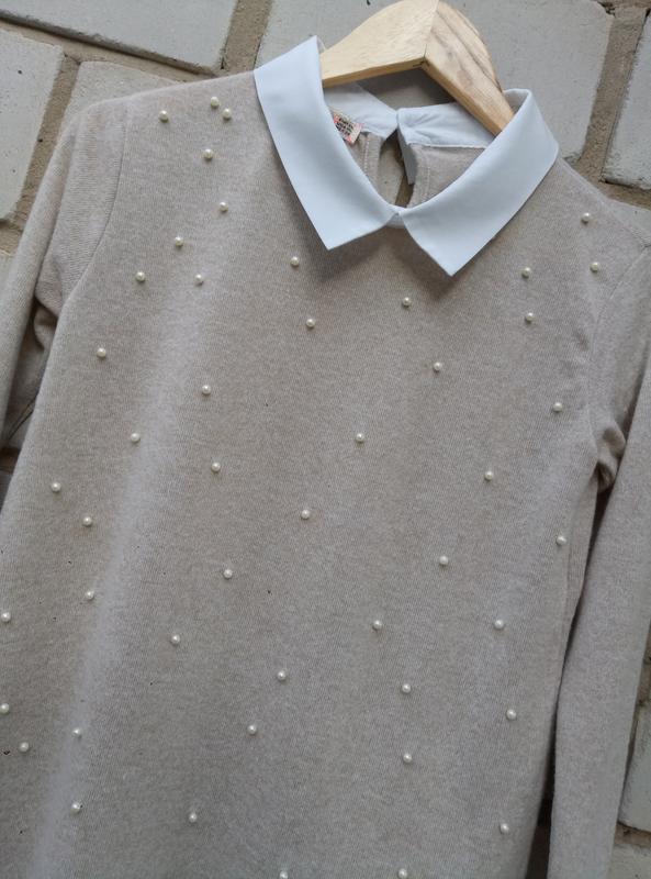 Нежный свитерок с перлинами спереди раз. xl - Фото 3