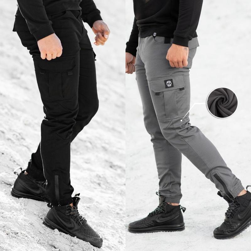 Теплые Карго Штаны Спортивные на Флисе мужские зимние брюки джогг