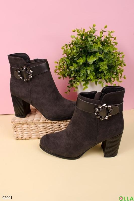 Женские ботинки на толстом каблуке - Фото 3