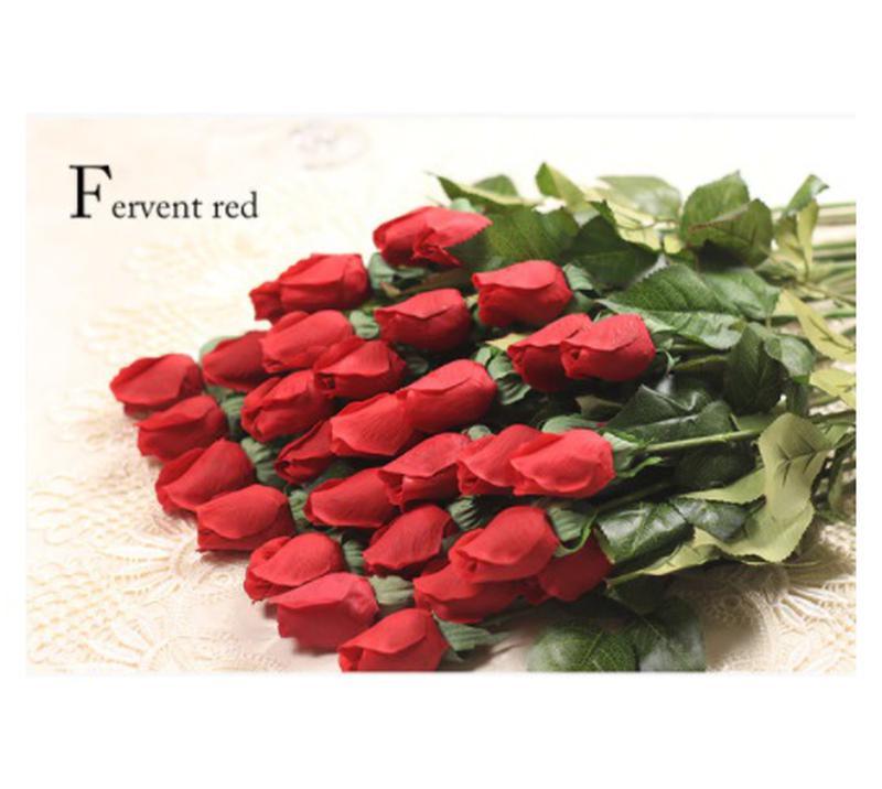 Искусственные розы красные - 5 штук, на вид и на ощупь как живые,