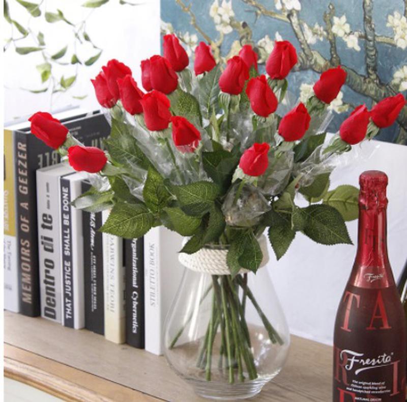 Искусственные розы красные - 5 штук, на вид и на ощупь как живые, - Фото 2