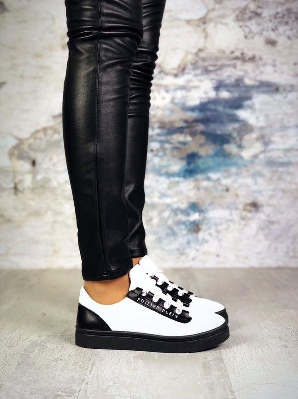 Натуральная кожа базовые кожаные черно-белые  кеды