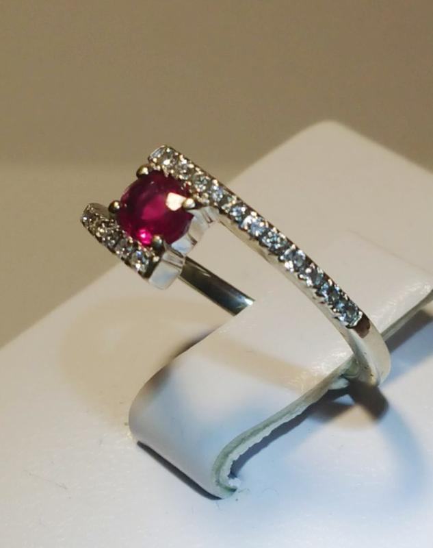 """Повседневный набор """"мечта"""" бриллиант рубин кольцо 16,5р +серьг... - Фото 3"""