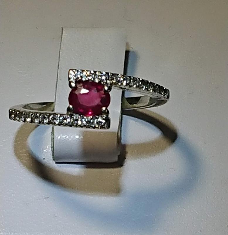 """Повседневный набор """"мечта"""" бриллиант рубин кольцо 16,5р +серьг... - Фото 4"""