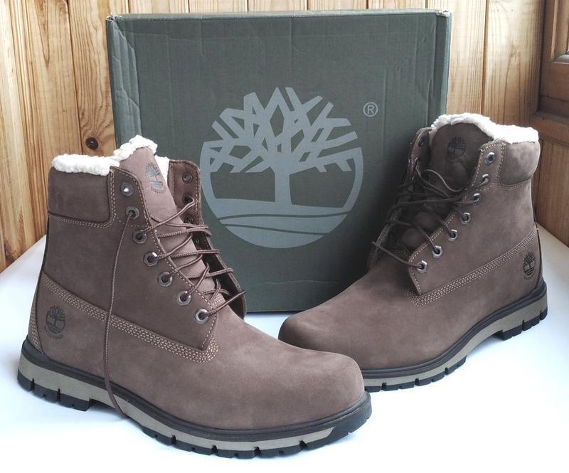 Стильные кожаные утепленные водонепроницаемые ботинки timberla...