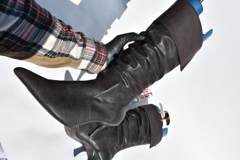 New look оригинал!! женские сапоги на утеплители  на осень кож... - Фото 3