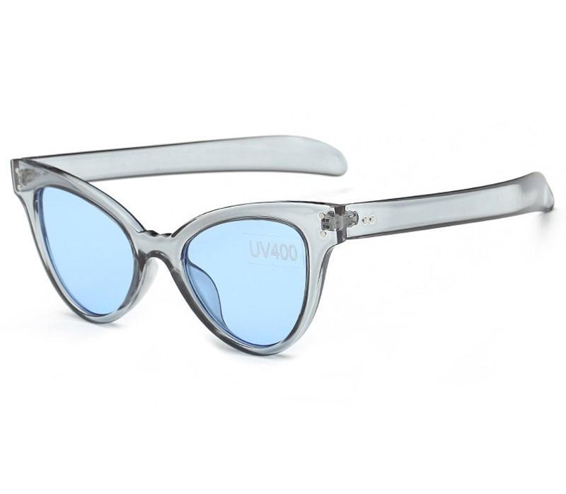 Серо-голубые полупрозрачные женские очки массивные лисички