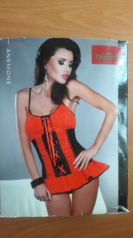 Женский эротический красно-чёрный корсет Livia Corsetti