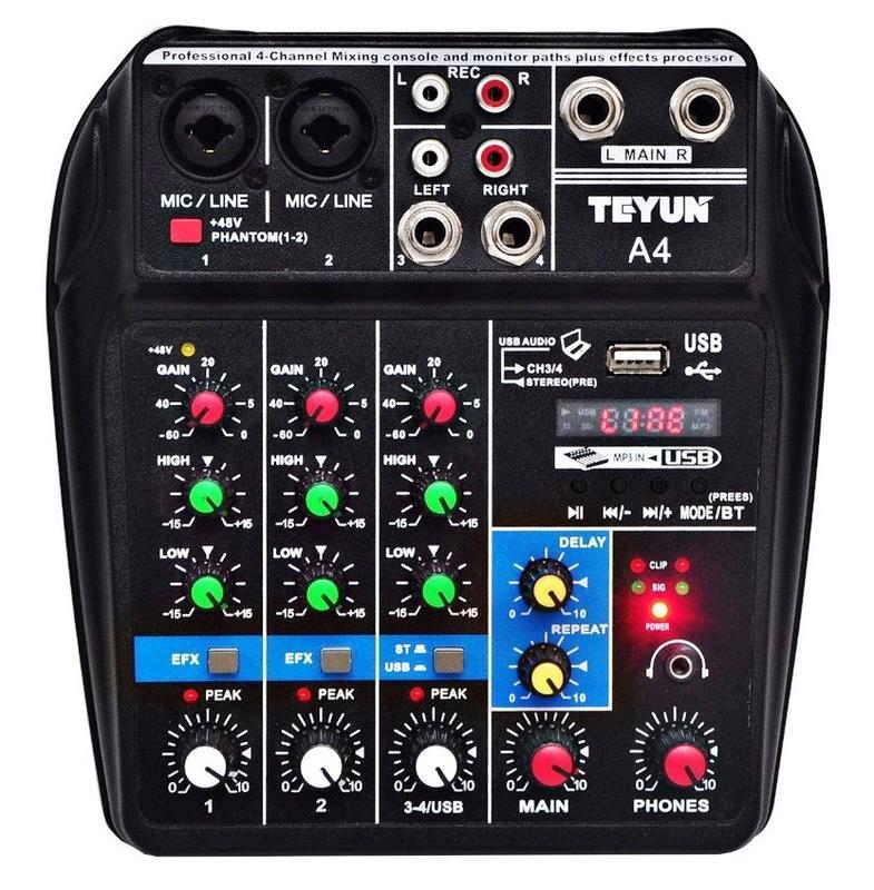 Teyun A4 Микшерный пульт 5V Bluetooth USB звуковая Аудиоинтерфейс