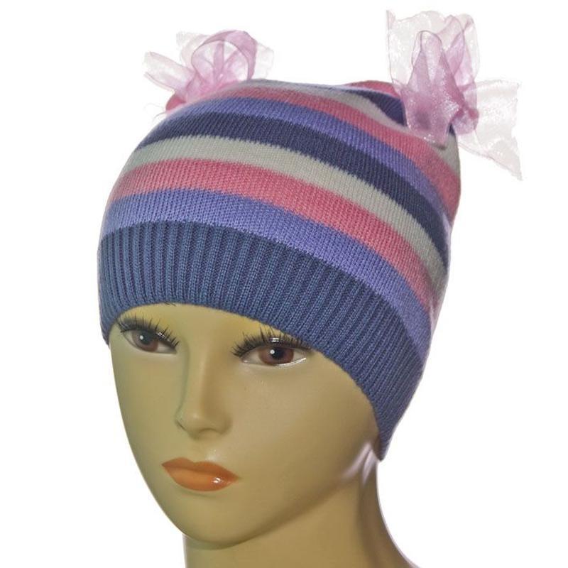 Весенне - осенняя полосатая шапка для модницы