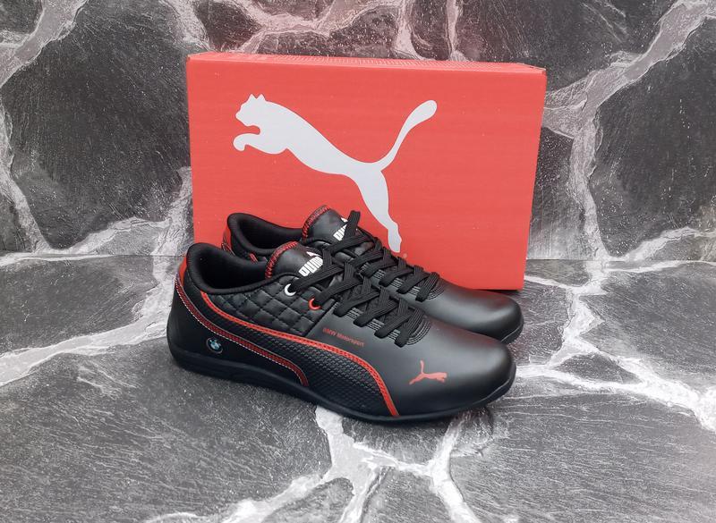 Мужские кроссовки puma bmw кожаные, черные. весенние