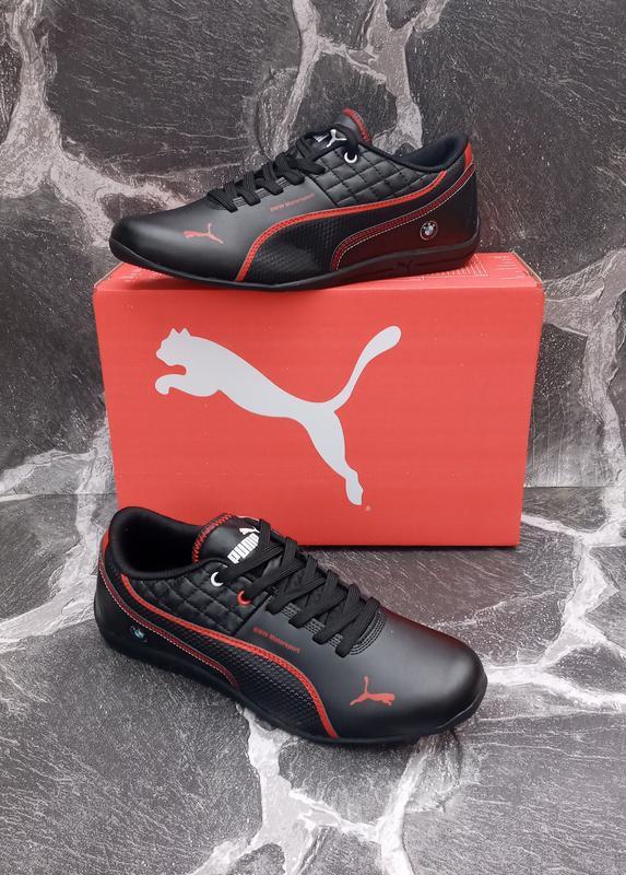 Мужские кроссовки puma bmw кожаные, черные. весенние - Фото 2