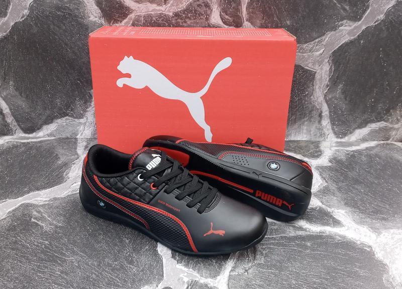 Мужские кроссовки puma bmw кожаные, черные. весенние - Фото 3