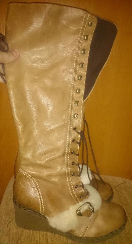 Стильні рижі чоботи шкіра р39 kg