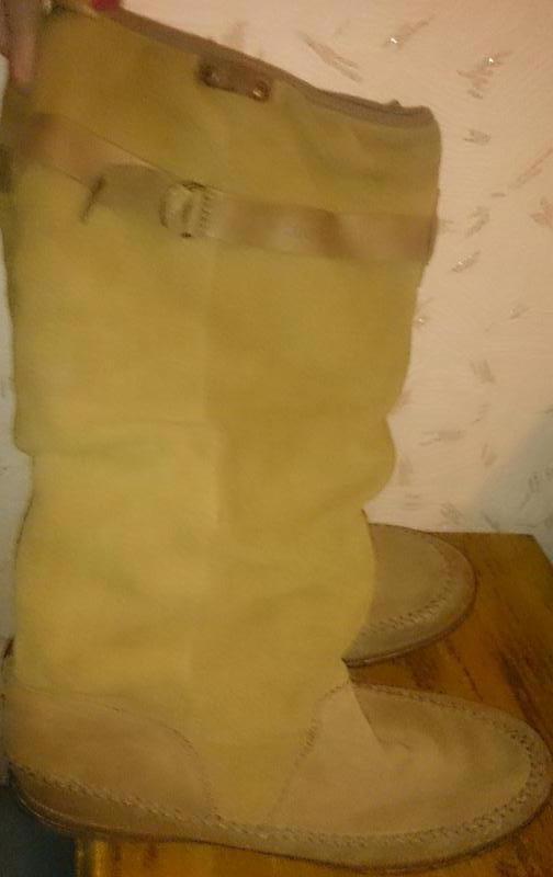 Стильні рижі чоботи замша р41le coq sportif