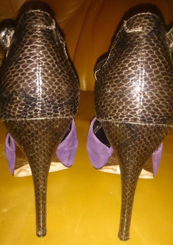 Стильні фіолетові туфлі замша р39 next - Фото 5