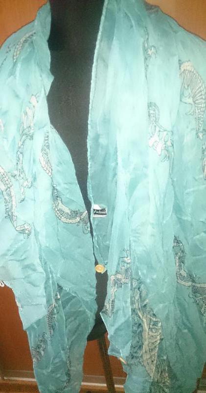 Стильний бірюзовий шарф antonio черепки