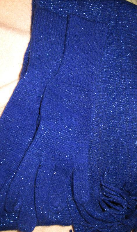 Синій набір шарф та рукавиці