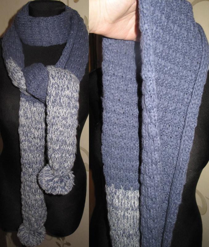 Синій теплий шарф mantaray помпони