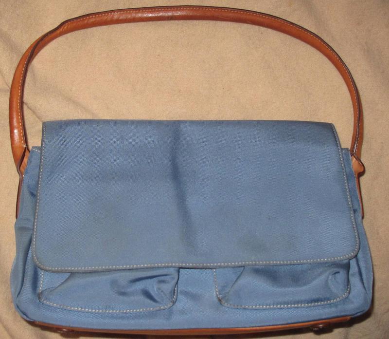 Синя сумка lands end вставки шкіра на кнопочку