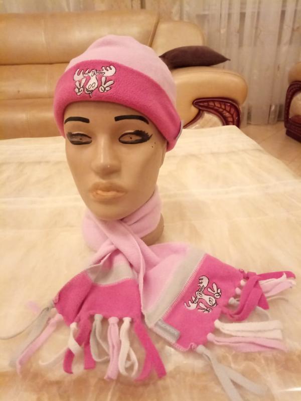 Тёплый флисовый набор шарф и шапка. розовый комплект шарф и шапка