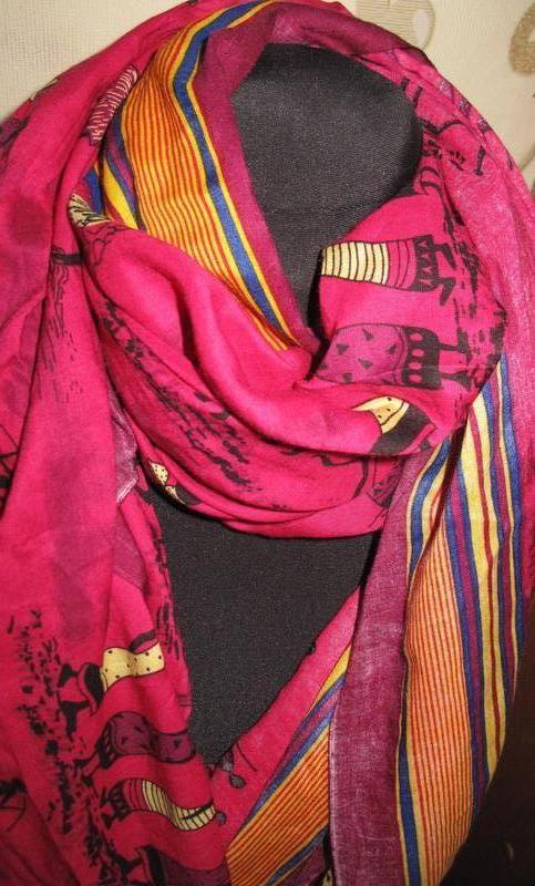 Рожевий великий шарф котон