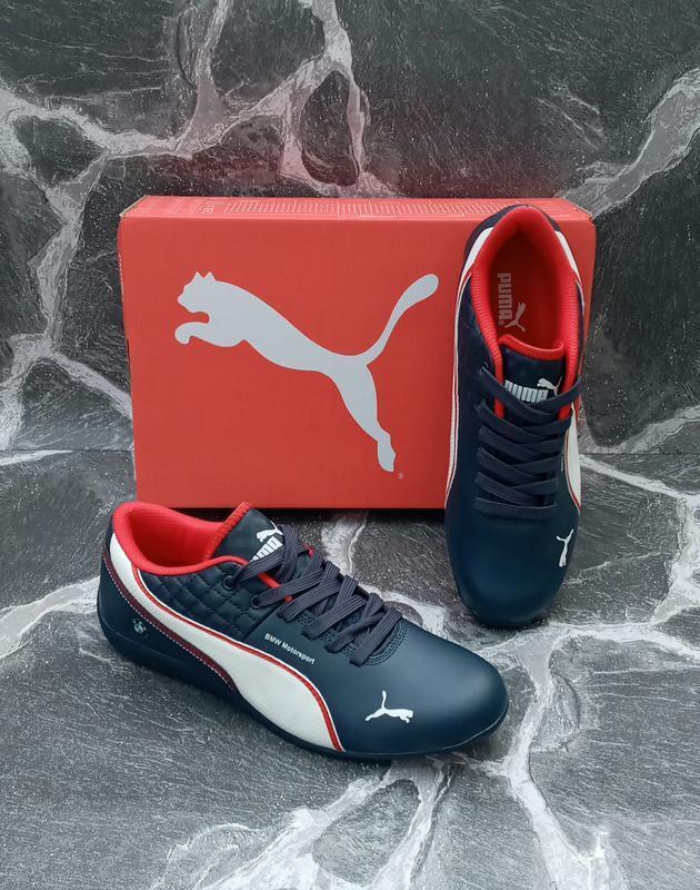 Кожаные кроссовки puma bmw синие, весенние, мужские - Фото 4