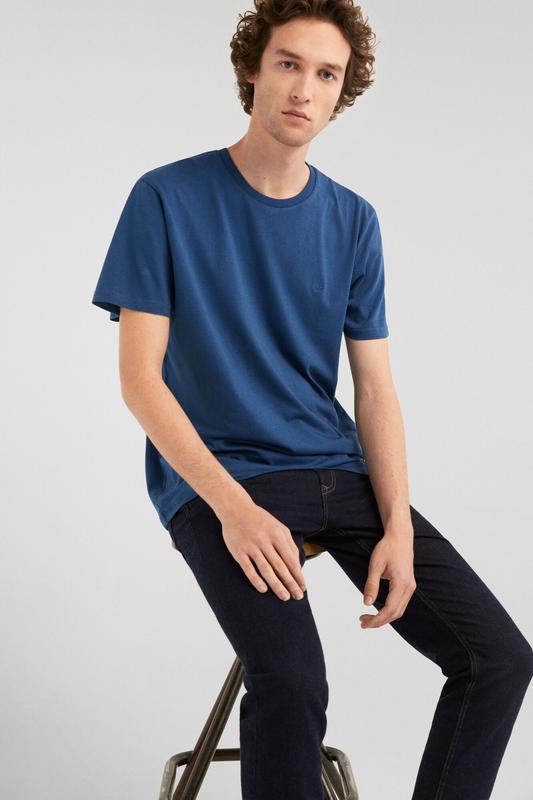 Базова футболка з вишивкою з коротким рукавом, синяя мужская ф...