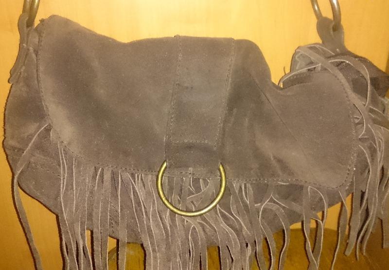 Стильна коричнева сумка тороки замша