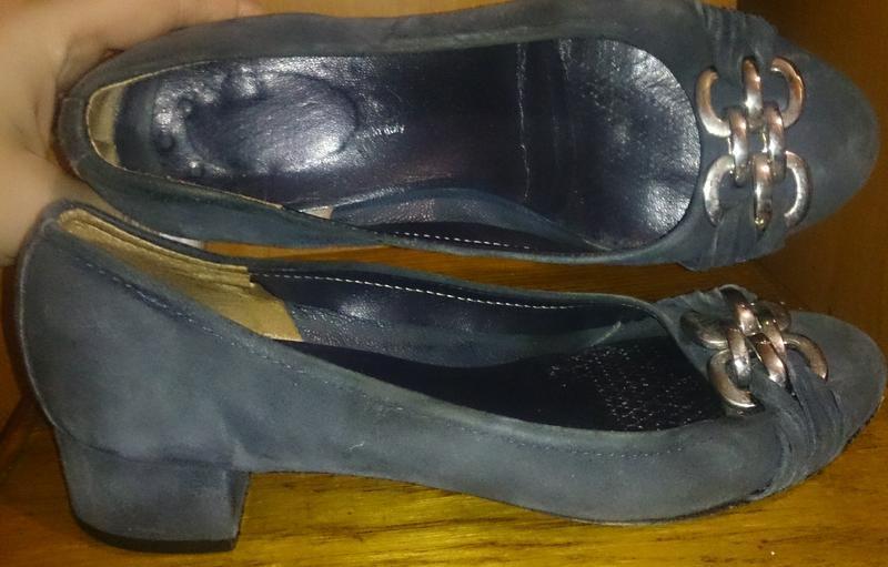 Стильні сині туфлі замша р37