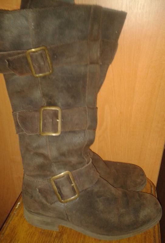 Стильні коричневі чоботи нубук р38