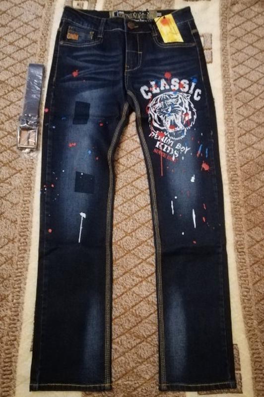 Классные подростковые джинсы узкачи для мальчика