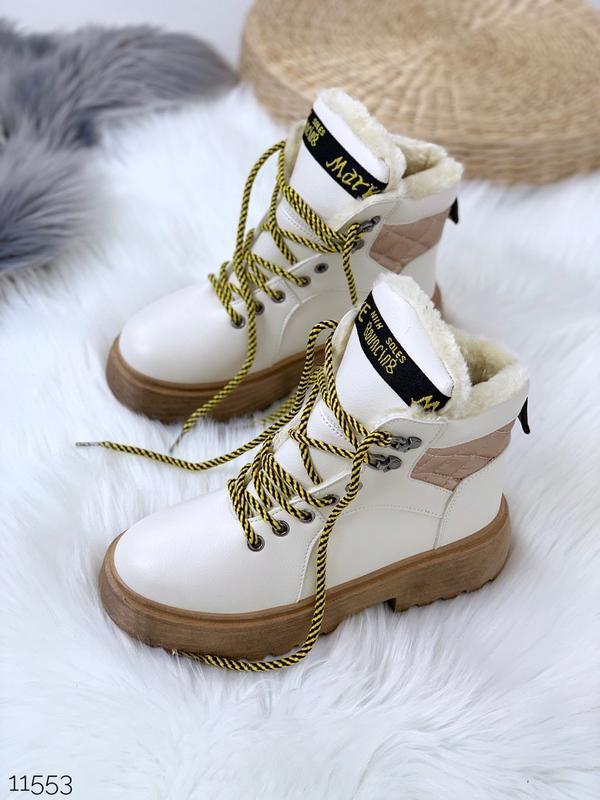 Крутые зимние ботинки белого цвета