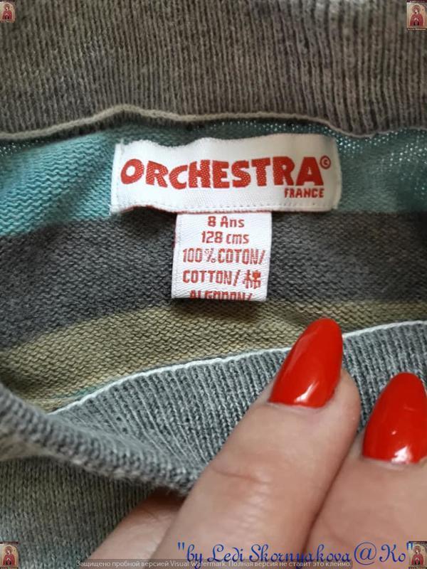 Фирменный orchestra  свитер со 100% хлопка  в полоску с принто... - Фото 7