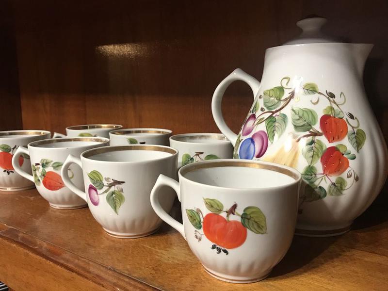 Чайник чашки сервиз ручная роспись позолота хохлома петриковская