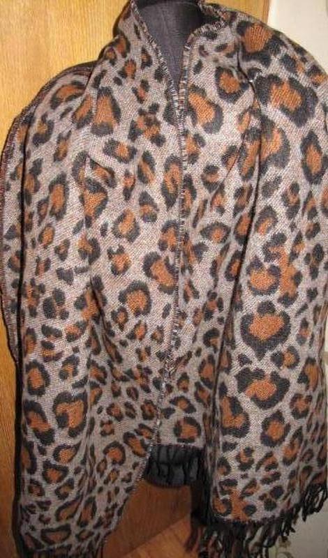 Теплий великий шарф леопард tu 100%акрил