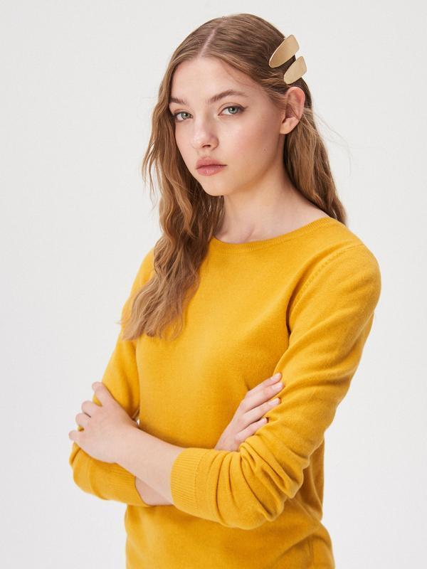 Новая длинная оранжевая желтая кофта темно-желтый свитер джемп...