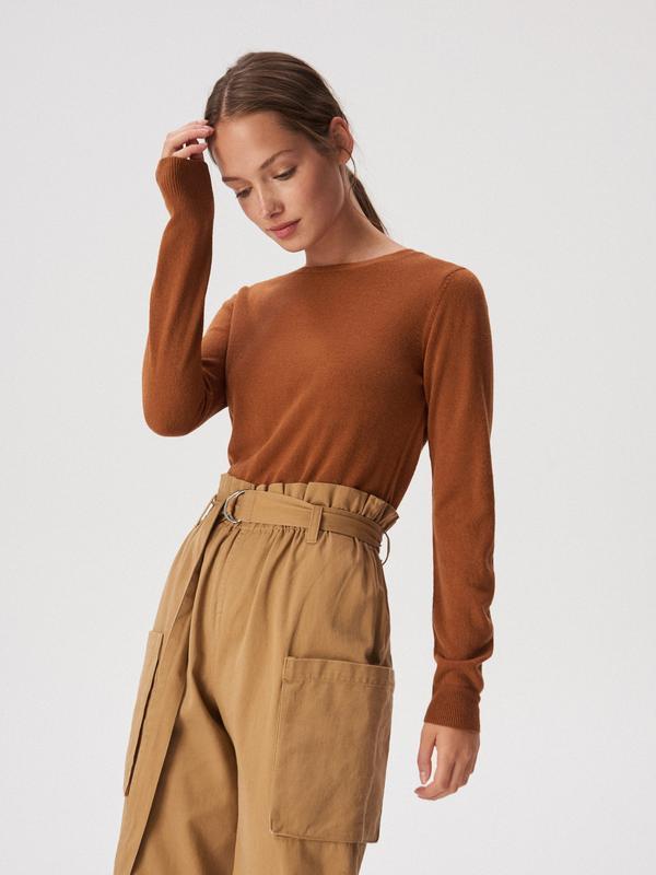 Новая базовая однотонная длинная коричневая кофта свитер джемп...