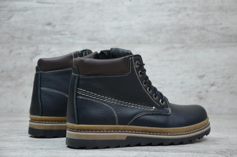 Натуральная кожа мужские зимние кожаные ботинки на шнурках на ...