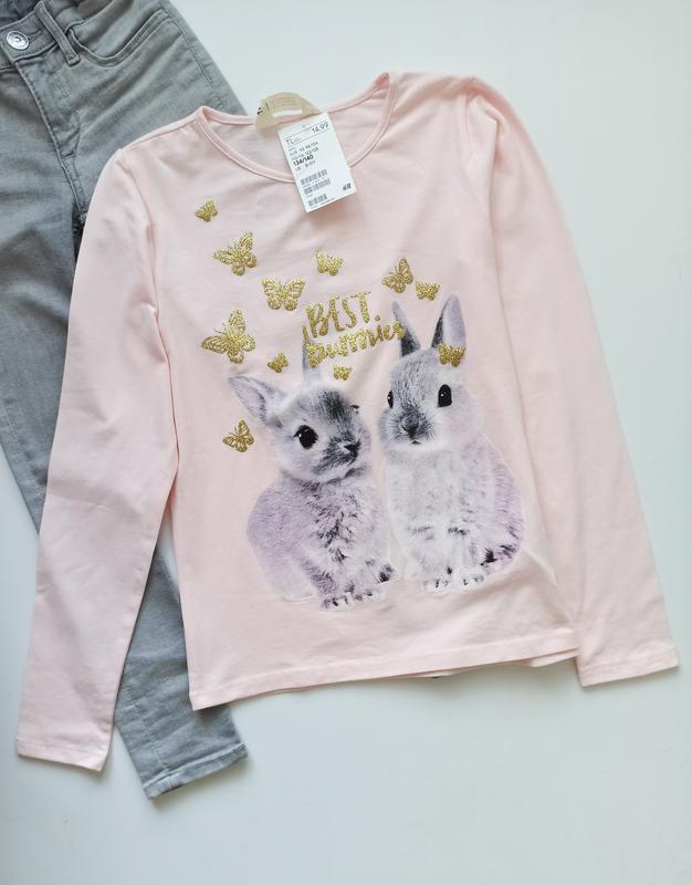 Лонгслив футболка хлопок кролик лонгслів бавовна h&m