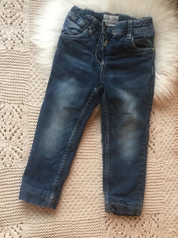 Прямые синие джинсы на девочку 86/92 с подкладом