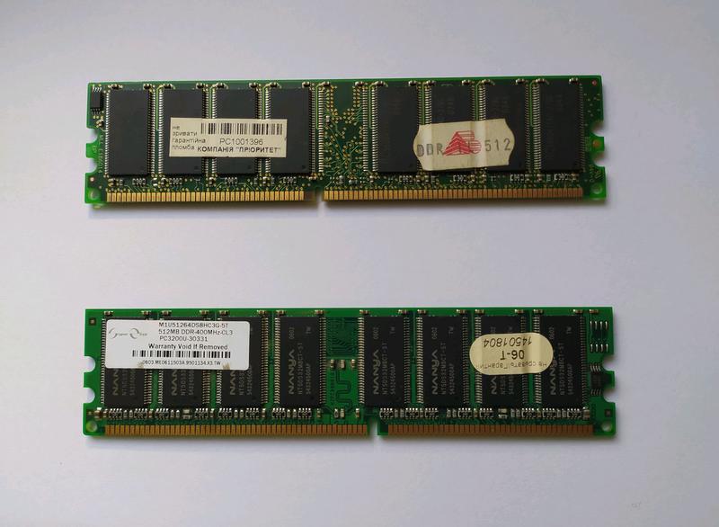 Оперативна пам'ять DDR1 512Mb, 256Mb