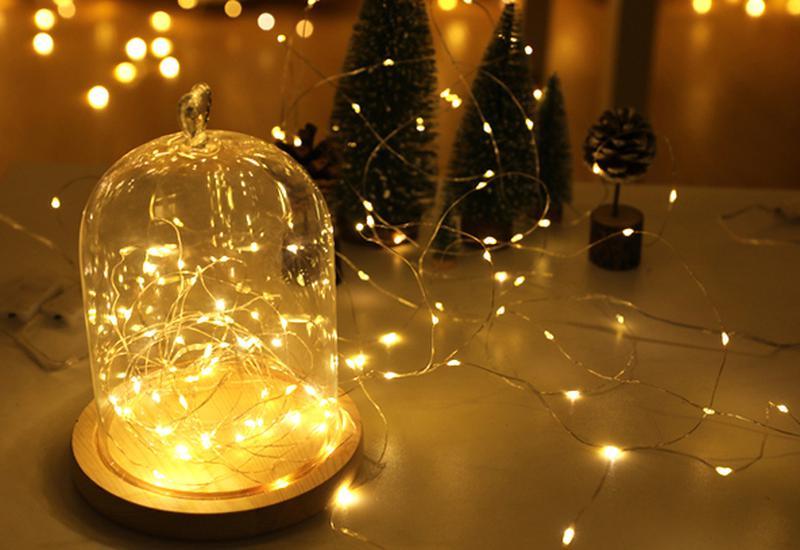 Новогодняя мини гирлянда для фото LED 1 метр для фон фото съемки - Фото 3